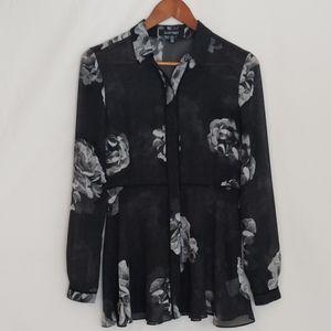 NWOT - Ellen Tracy Floral sheer blouse